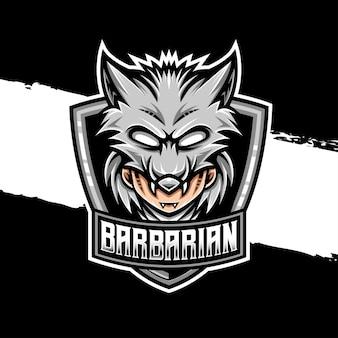 Ícone do personagem lobo guerreiro logotipo esport