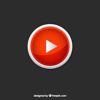 Ícone do player do youtube com design plano