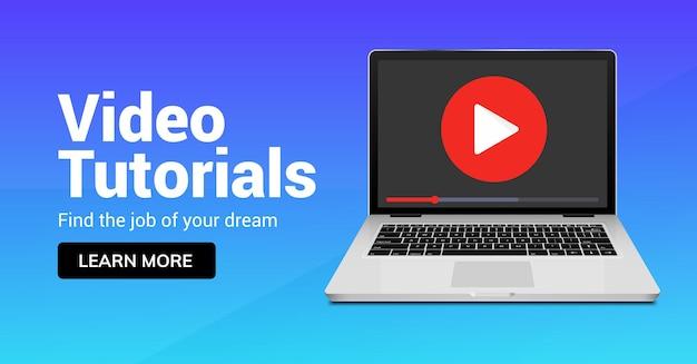Ícone do player online de vídeo tutorial. media player para conceito de design do tutorial de educação de treinamento de webinar.