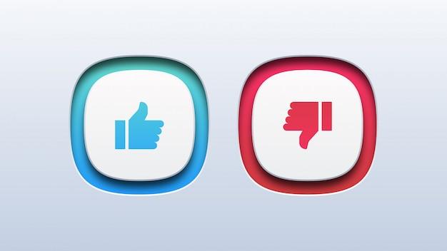Ícone do polegar para cima e do polegar para baixo