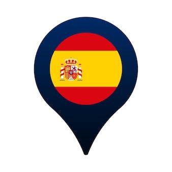 Ícone do ponteiro da bandeira e do mapa da espanha. projeto do vetor do ícone de localização da bandeira nacional, pino do localizador de gps. ilustração vetorial