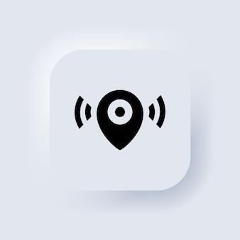 Ícone do ponteiro do mapa. ícone de localização. notificação de ponteiro de mapa. simples procurando sinal. botão da web da interface de usuário branco neumorphic ui ux. neumorfismo. vetor eps 10.