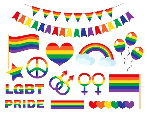Ícone do pride lgbtq definido em estilo simples