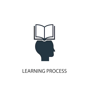 Ícone do processo de aprendizagem. ilustração de elemento simples. design de símbolo de conceito de processo de aprendizagem. pode ser usado para web e celular.