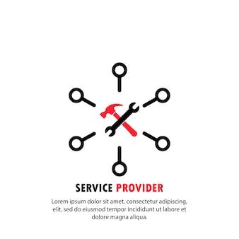 Ícone do provedor de serviços. suporte online. vetor em fundo branco isolado. eps 10.