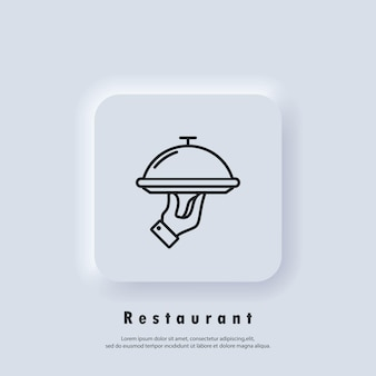 Ícone do restaurante. bandeja de comida. ícone de serviços de catering. vetor. botão da web da interface de usuário branco neumorphic ui ux. neumorfismo