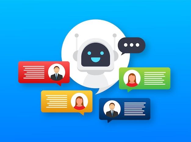 Ícone do robô. projeto de sinal de bot. conceito de símbolo do chatbot. bot de serviço de suporte de voz. bot de suporte online.