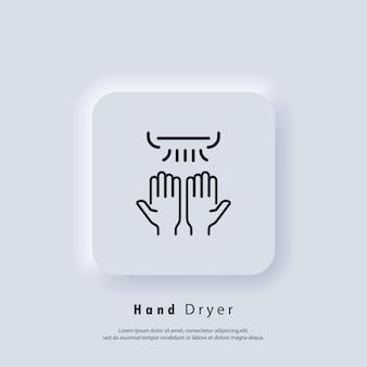 Ícone do secador de mãos. logotipo do secador de mãos de linha fina. vetor. ícone da interface do usuário. botão da web da interface de usuário branco neumorphic ui ux.