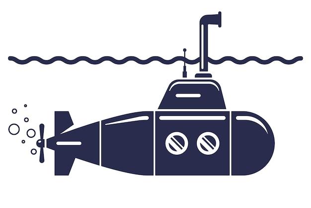 Ícone do submarino em um fundo branco. ilustração vetorial plana.