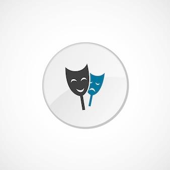 Ícone do teatro 2 colorido, cinza e azul, emblema do círculo
