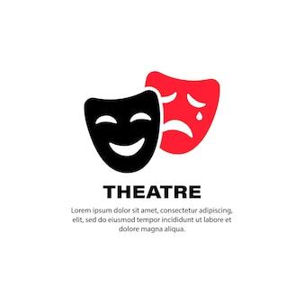 Ícone do teatro. máscaras de teatro de comédia e tragédia. vetor em fundo branco isolado. eps 10.
