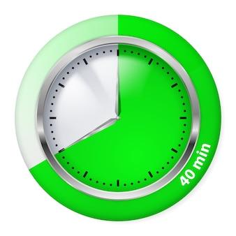 Ícone do temporizador verde. ilustração de quarenta minutos