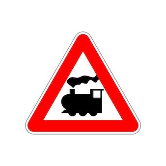 Ícone do trem no triângulo vermelho e branco na placa de sinalização branca