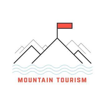 Ícone do turismo de montanha de linha fina. conceito de modelo linear extremo, férias, viagem, pesca. isolado no fundo branco. ilustração em vetor design moderno logotipo tendência estilo simples
