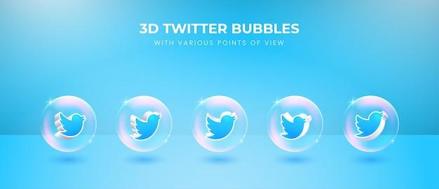 Ícone do twitter da mídia social 3d com vários pontos de vista