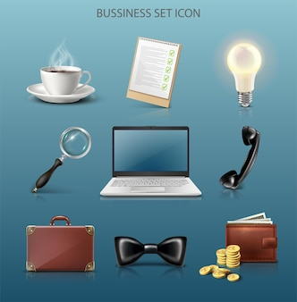 Ícone do vetor conjunto de negócios computador, lupa, carteira, gravata, pasta, ideia, café