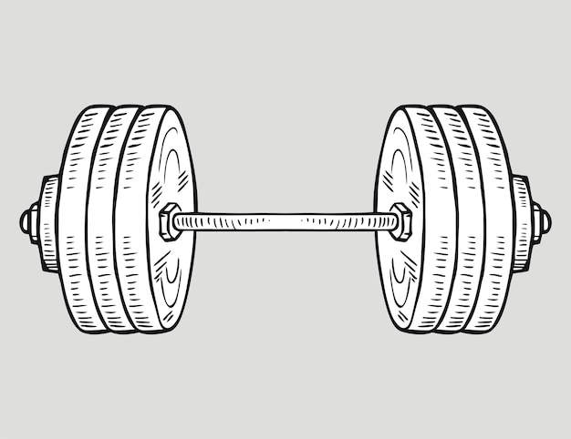 Ícone do vetor do barbell no estilo doodle