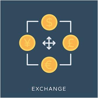 Ícone do vetor do exchange flat