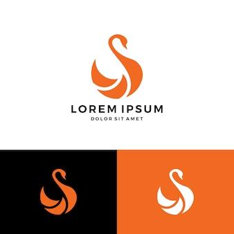 Ícone do vetor do logotipo da cisne