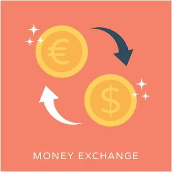 Ícone do vetor plano de troca do dinheiro