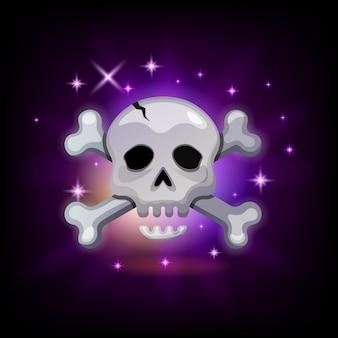 Ícone do videogame com uma caveira brilhante de pirata e ossos cruzados em fundo escuro, ilustração para interface gráfica de usuário, estilo desenho animado