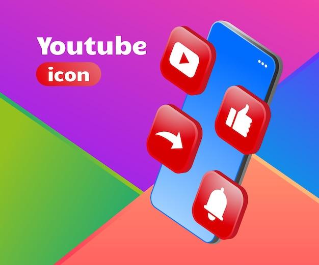 Ícone do youtube com logotipo 3d com smartphone