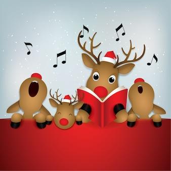 Ícone dos desenhos animados, cervos cantando feliz natal.