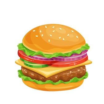 Ícone dos desenhos animados de hambúrguer ou cheeseburger.