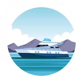 Ícone dos desenhos animados de iate barco