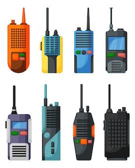 Ícone dos desenhos animados de walkie-talkie. transceptor de ícone definido dos desenhos animados isolados.