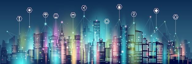 Ícone e cidade inteligente de comunicação de rede de tecnologia sem fio.