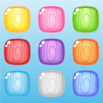 Ícone e forma quadrada linha madeira 9 cores para jogos.
