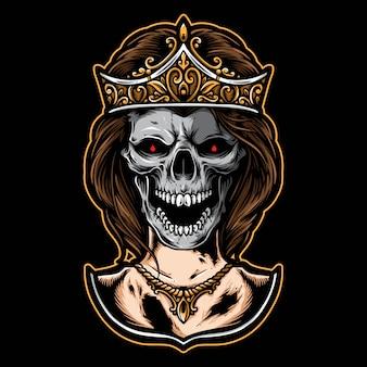 Ícone e logotipo de vetor de princesa caveira