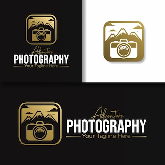 Ícone e logotipo ouro de fotografia de aventura ao ar livre