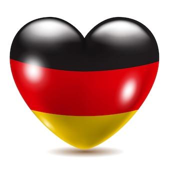 Ícone em forma de coração com a bandeira da alemanha em fundo branco com sombra