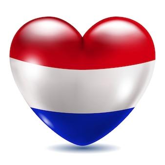 Ícone em forma de coração com bandeira da holanda em fundo branco com sombra