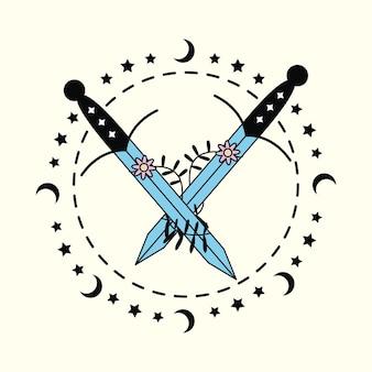 Ícone esotérico de espadas e flores Vetor Premium