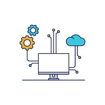 Ícone ilustrativo de configuração de dispositivo de computador de nuvem