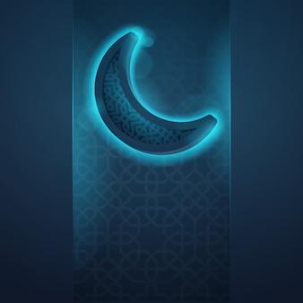 Ícone islâmico brilho crescente saudação fundo