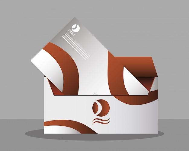 Ícone isolado da maquete do envelope de correio