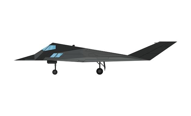 Ícone isolado de aeronaves de bombardeiro a jato militar