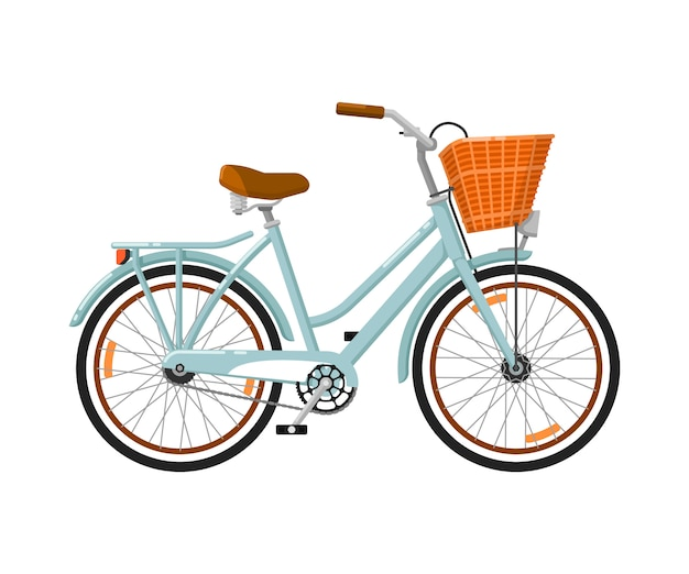 Ícone isolado de bicicleta de mulher clássica