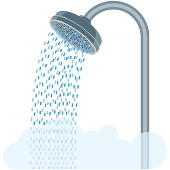 Ícone isolado de equipamento de banheiro de vetor de chuveiro