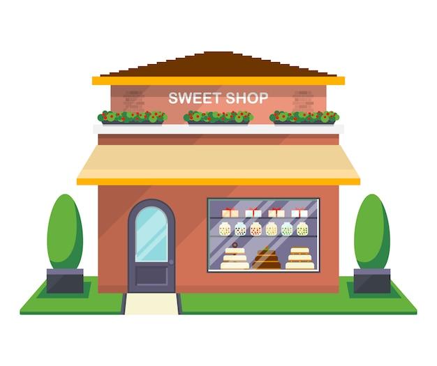Ícone isolado de fachada de loja de doces