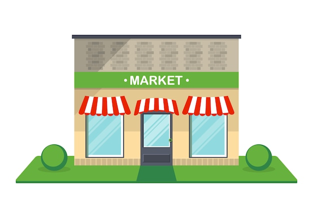 Ícone isolado de fachada de mercado