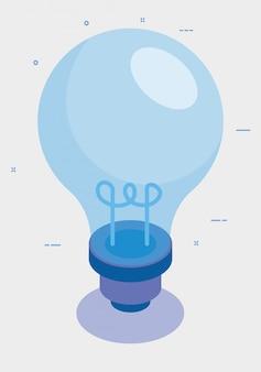 Ícone isolado de invenção de lâmpada