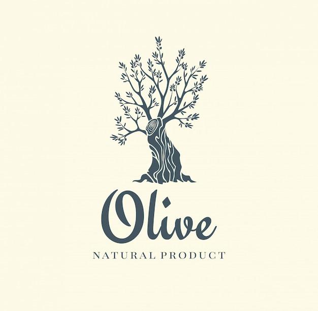 Ícone isolado de oliveira elegante. conceito de design de logotipo de árvore. ilustração de silhueta de oliveira. emblema de planta de árvore de azeite natural