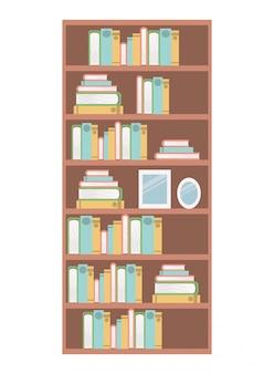 Ícone isolado de prateleiras de biblioteca