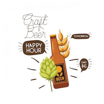 Ícone isolado de rótulo de cerveja artesanal