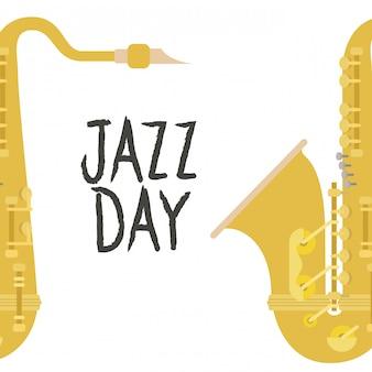 Ícone isolado de rótulo de dia de jazz